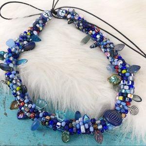 Jewelry - Crochet Beaded Necklace Handmade Art Piece Choker